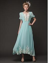 TS Deep V Embroidery Dress , Chiffon/Lace Midi Short Sleeve