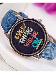 Women's Cowboy Style English Dial PU Band Quartz Analog Everything Will Be Ok Word Wrist watch (Assorted Colors) Cool Watches Unique Watches