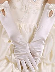 Luva Luvas de Noiva/Luvas de Festa Até o Cotovelo Com Dedos Cetim