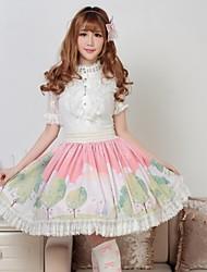 Saia Doce Princesa Cosplay Vestidos Lolita Rosa Estampado Lolita Comprimento Médio Saia Para Feminino Poliéster