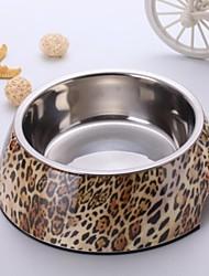 Mode Leopard Applique Mélamine Bol rond avec Dish acier inoxydable pour Pet Dogs