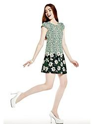 Women's Dress , Chiffon/Polyester Above Knee Short Sleeve