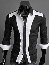 Z & S мужская лацкане шеи полоса рубашка с длинным рукавом