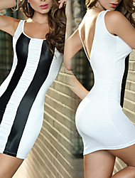 Hot Black And White Stripe poliéster Sexy Nightclub Mulheres Mini Vestidos