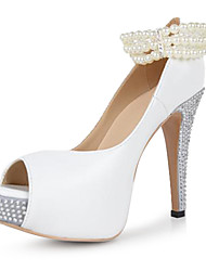 BC Cute Coppy Leather Women's Stiletto Rhinestone Heel Peep Toe Platform Sandals With Pearl Link