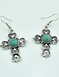 Toonykelly® Vintage Antique Silver Dangle Turquoise Earring(1Pair)