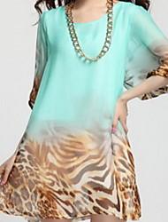 Luto para mujer Loose mitad Puff mangas vestido de gasa en Leopard