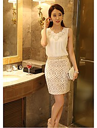 YPHZ Chiffon Sequin Flower Fitted Sleeveless Tops(White)
