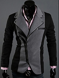 LangTuo Irregular Zipper projeto cores sortidas Roma Pano Magro Blazer (Dark Gray)