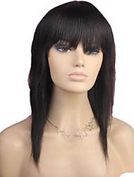 100% Human Hair Long Straight Full Bangs Capless Hair Wig Natural Black