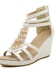 Le talon de cale de femmes spartiates avec fermeture éclair et strass chaussures (plus de couleurs)