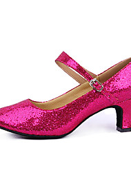 Shoes Show Women's Y-Type Band Laser Paillette Modern  Leather Arch Strap Chunky Heel Dancing Shoes Heel 6CM(Fuchsia)
