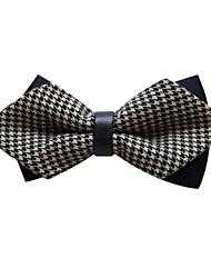 Men's Fashion Black Grey Double Colour Swallow Gird Sharp Corner Party Bowtie
