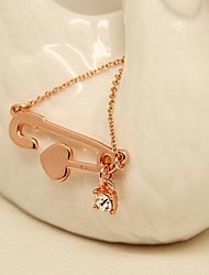 Pretty Jewelry  Short  Gold Plated Pin Set Auger  Clavicle Necklace for Women