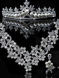 Élégant en alliage avec strass et de perles bijoux de mariage set (y compris Tiara, collier et boucles d'oreilles)