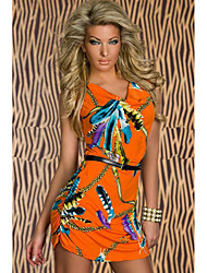 Women's Dresses , Cotton Blend/Polyester Sexy/Party Sleeveless April Beauty