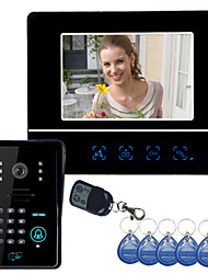 "7"" Video Door Phone DoorBell Intercom System Touch Panel Door Lock RFID Keyfobs"