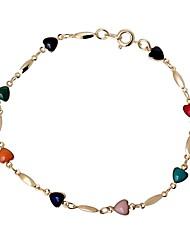 coração bonito doce das mulheres de 18 k ouro pulseira banhados