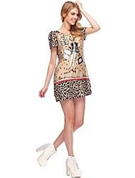 Chicas Malas Nueva Primavera Verano 2014 modelos de pasarela Mismas con Fan Bingbing Cartoon Ronda Impreso mujeres del cuello Dress8025