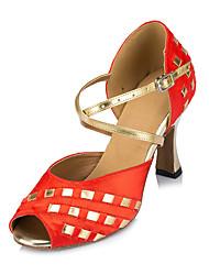 Customizable Women's Dance Shoes Latin Leatherette Customized Heel Black/Blue/Red
