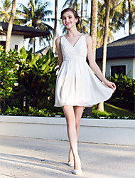LAN TING BRIDE A-line Princess Wedding Dress - Chic & Modern Simply Sublime Short / Mini V-neck Chiffon with Beading Criss-Cross