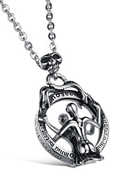Cool Unique Charm Individuality Creative Skull Mirror Titanium Steel Man Necklace