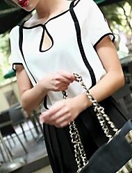Frauen Kontrast Farbe Chiffon Kurzarm T-Shirt