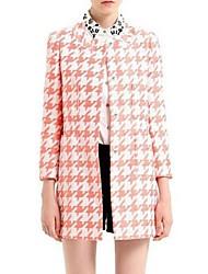 Collar de la Mujer Fashion Pink Chorlito cuadrícula Trench Coat Mujer Abrigo largo