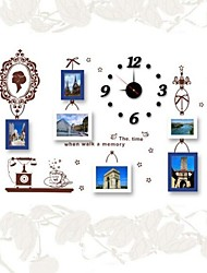 Photo Frame Set of 6  with Wall Sticker & DIY Wall Clock