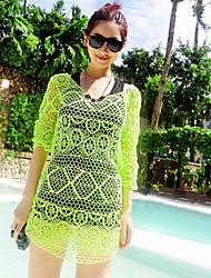 Beining Half-Sleeve  Crochet Beach Knitted Blouse(Green)