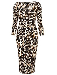 Women's Work Dress,Animal Print Midi Long Sleeve All Seasons
