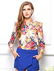 Women's Flower Print Long Puff Sleeve Chiffon Shirt