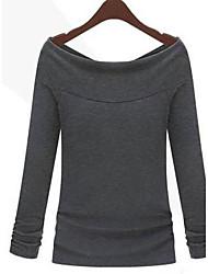 Women's Solid White/Black/Gray T-shirt , Round Neck Long Sleeve