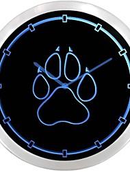 nc0949 chien d'impression de patte Pet Shop Neon Wall Clock LED