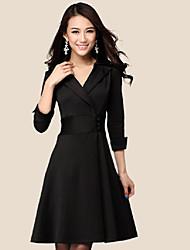 Slim Fit cuello en V vestido de las mujeres de Corea del Hanli elegante Sleev (Negro)