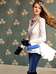 Women's Solid White Shirt , Deep U Long Sleeve Ruffle