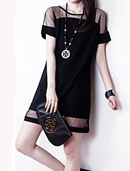 TS Round Neck Mesh Dress , Organza/Spandex/Polyester Above Knee Short Sleeve