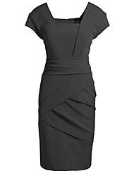 Women's Work Dress Knee-length Short Sleeve Beige / Black Summer