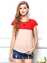 Women's Color Block Blue/Green/Orange/Red/Yellow Blouse/Shirt , Round Neck Short Sleeve