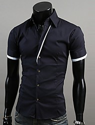 U2M2 Mens Fashion Contrast Color Swallow Gird shirt