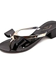 Chunky Heel flip flops chinelos femininos com bowknot sapatos (mais cores)