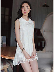 Women's Going out Loose Dress,Solid Peter Pan Collar Above Knee Sleeveless White Summer