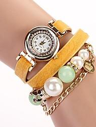 C & D 2014 nouvelles femmes s'habillent perles de luxe montres bracelet en cuir longue chaîne de strass xk-9