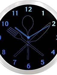 nc0994 ustensiles de cuisine Neon Sign Horloge murale LED