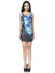Vrouw O Hals Van Gogh Sterrennacht Printed Mini Tank Vest Dress