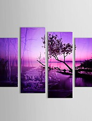 Hand Painted Oil Painting Landscape  Dusk of Mangrove Forest with Stretched Frame Set of 4