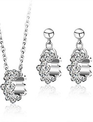 Women's Wedding sieraden set Rhodium Plated Rhinestone Verklaring Sieraden Sets