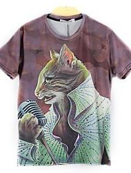 Herren Europa Mode mit kurzen Ärmeln drucken 3D-Katzen-T-Shirts