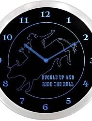 nc0977 Cavaleiro de Bull Rodeo Cowboys do sinal de néon LED Relógio de parede