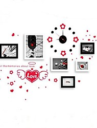 Photo Frame Collection Set of 6  with Wall Sticker & Wall Clock